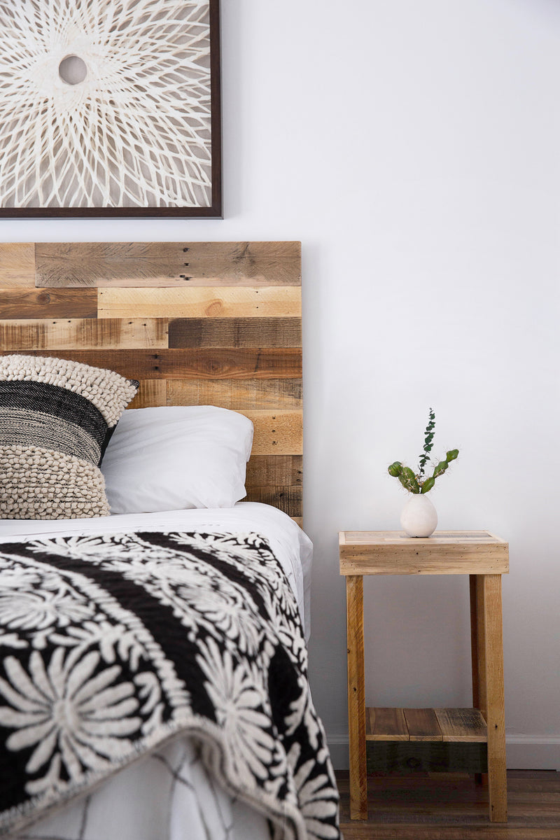 Reclaimed Wood Headboard and Nightstand in Natural