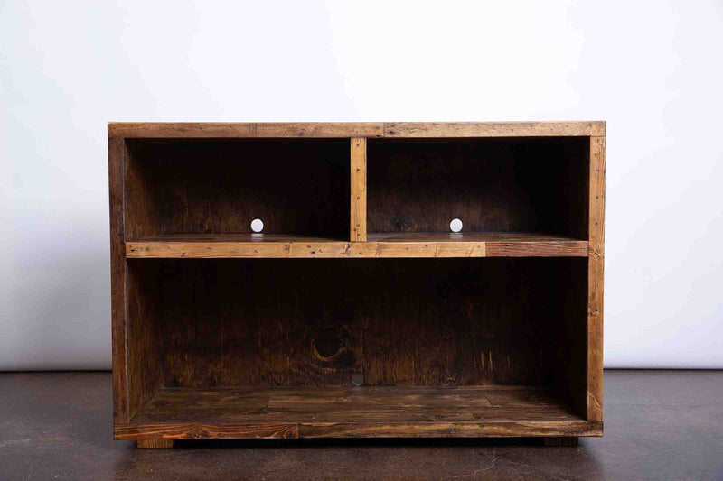 Reclaimed Wood Two-Compartment TV Media Stand - Kase Custom