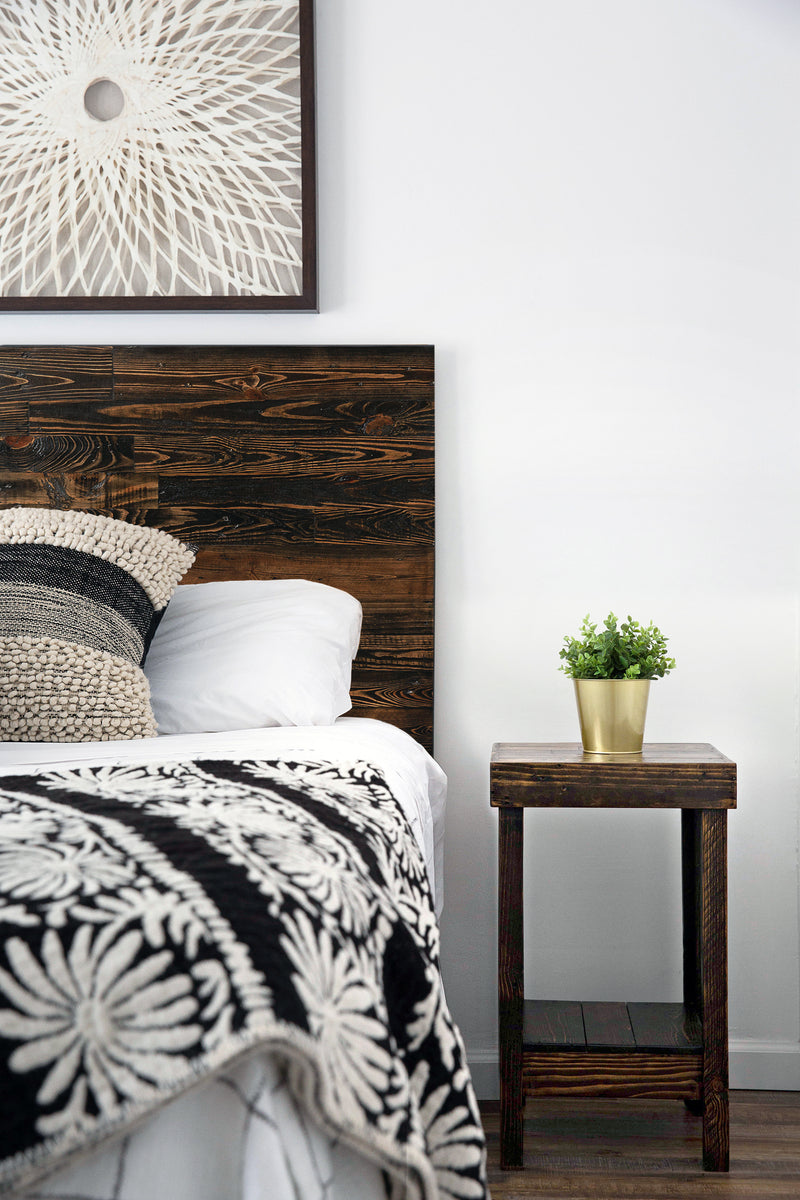 Reclaimed Wood Headboard and Nightstand in Espresso