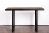Modern Reclaimed Wood Community Bar Table with Steel U-Shape Legs in Espresso - Kase Custom
