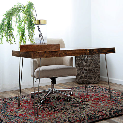 Reclaimed Wood Desk with Steel Hairpin Legs - Kase Custom