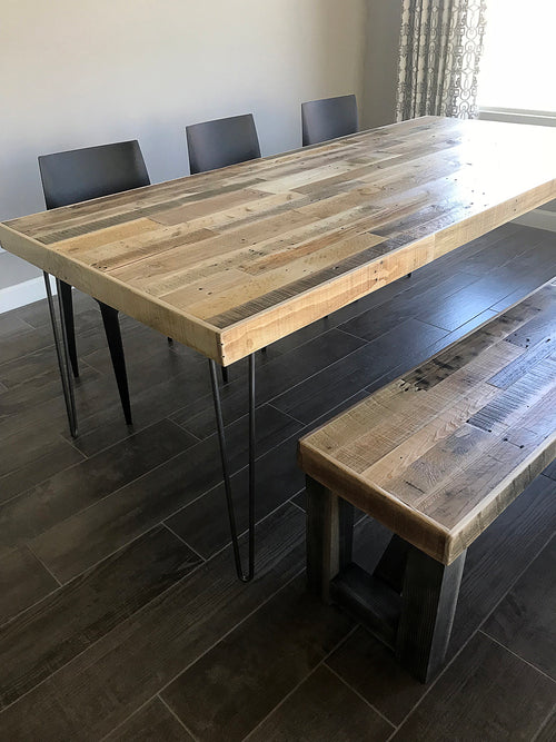 Reclaimed Wood Dining Table with Modern Steel Hairpin Legs - Kase Custom