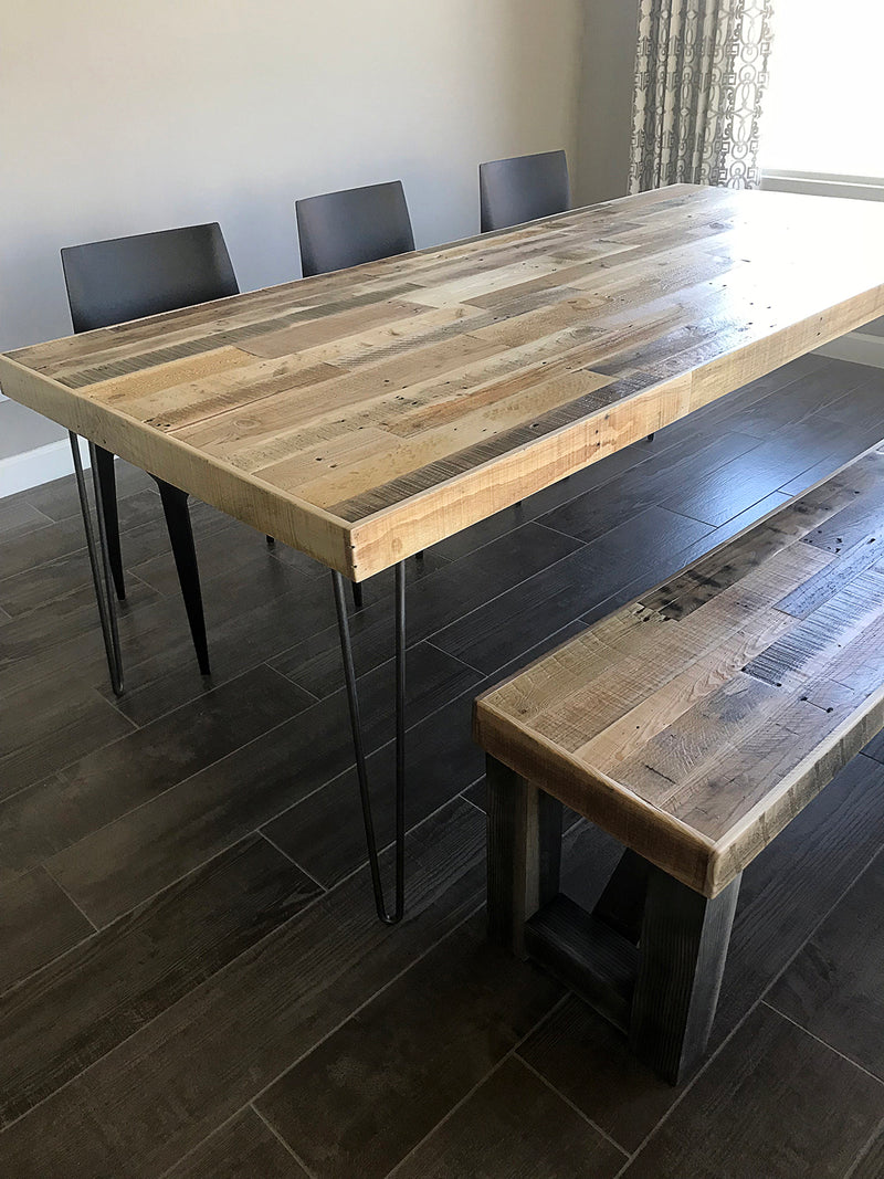 Reclaimed Wood Dining Table with Modern Steel Hairpin Legs