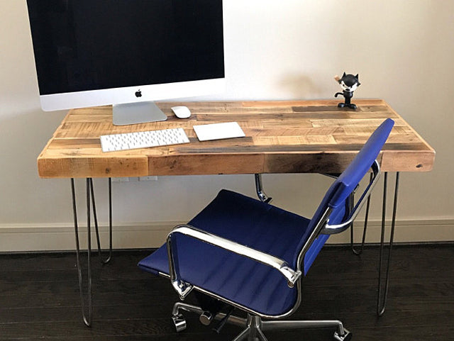 Reclaimed Wood Desk with Hairpin Legs - Kase Custom
