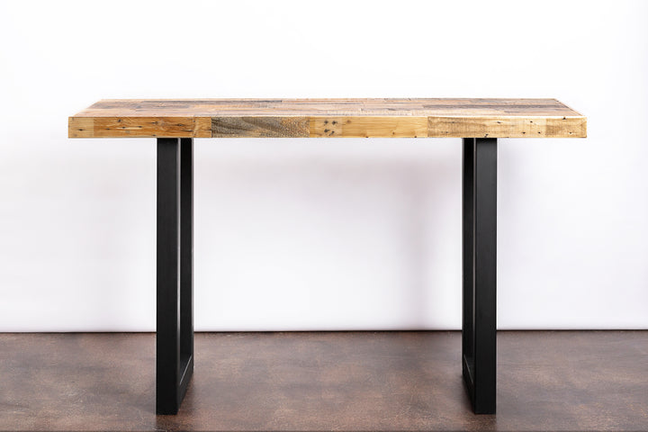 Modern Reclaimed Wood Community Bar Table with Steel U-Shape Legs in Natural - Kase Custom