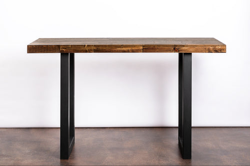 Modern Reclaimed Wood Community Bar Table with Steel U-Shape Legs in Provincial - Kase Custom