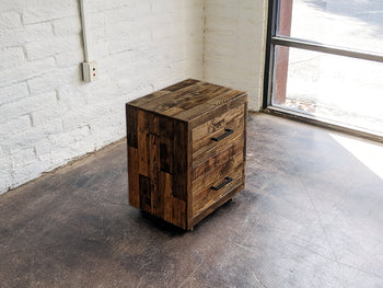 Reclaimed Wood Two Drawer Nightstand - Kase Custom
