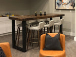 Modern Reclaimed Wood Community Bar Table with Steel U-Shape Legs in Provincial