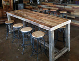 espresso reclaimed wood community bar restaurant high top table