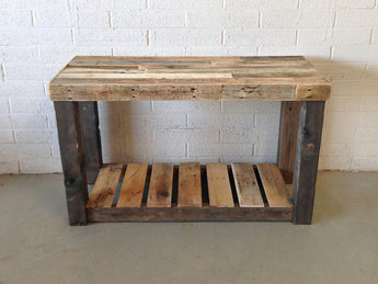 natural reclaimed wood vanity console table