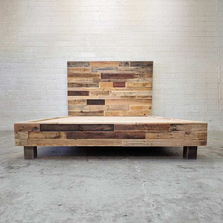 natural reclaimed wood bed