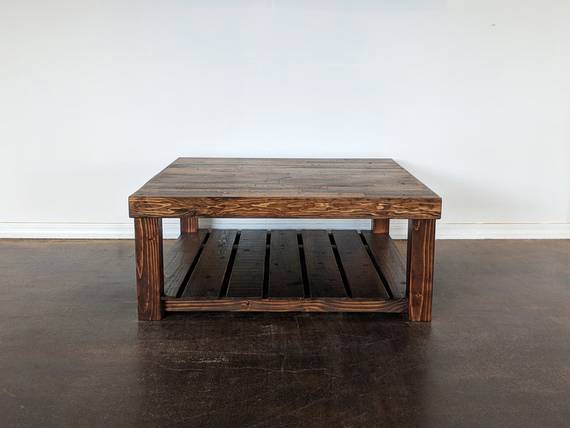 Reclaimed Wood Square Coffee Table - Kase Custom