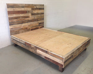Natural Reclaimed Wood Bed Side View