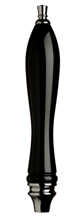 Large Black Pub Tap Handle with Silver
