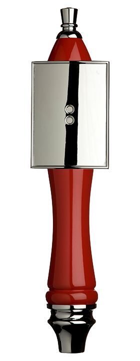 Large Red Pub Tap Handle with Silver Rectangle Shield