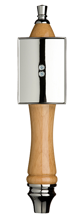 Large Natural Pub Tap Handle with Silver Rectangle Shield