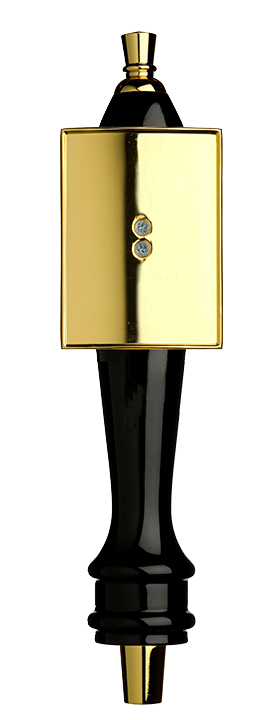 Medium Black Pub Tap Handle with Gold Rectangle Shield