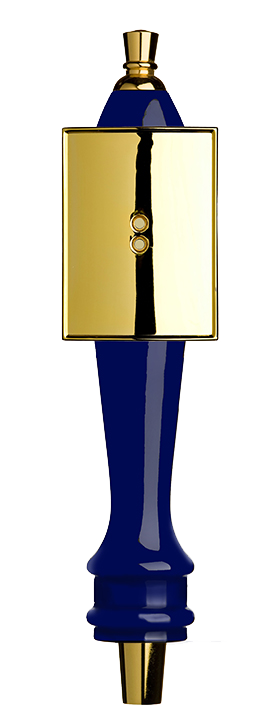 Medium Blue Pub Tap Handle with Gold Rectangle Shield
