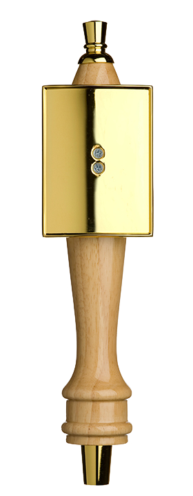 Medium Natural Pub Tap Handle with Gold Rectangle Shield