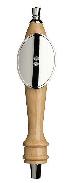 Medium Natural Pub Tap Handle with Silver Oval Shield