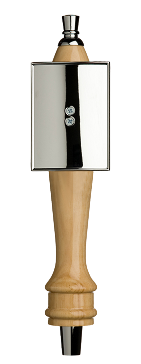 Medium Natural Pub Tap Handle with Silver Rectangle Shield