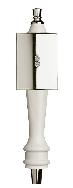 Medium White Pub Tap Handle with Silver Rectangle Shield