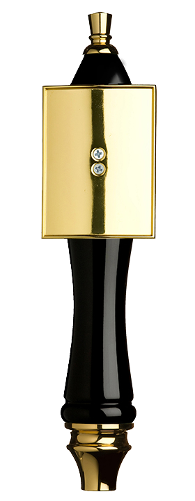 Large Black Pub Tap Handle with Gold Rectangle Shield