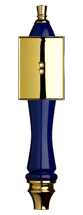 Large Blue Pub Tap Handle with Gold Rectangle Shield