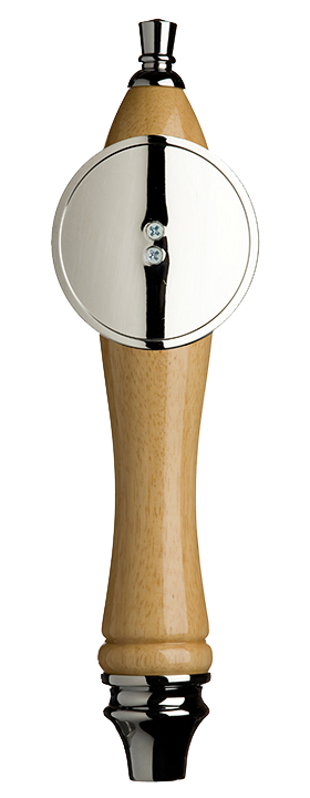 Large Natural Pub Tap Handle with Silver Round Shield