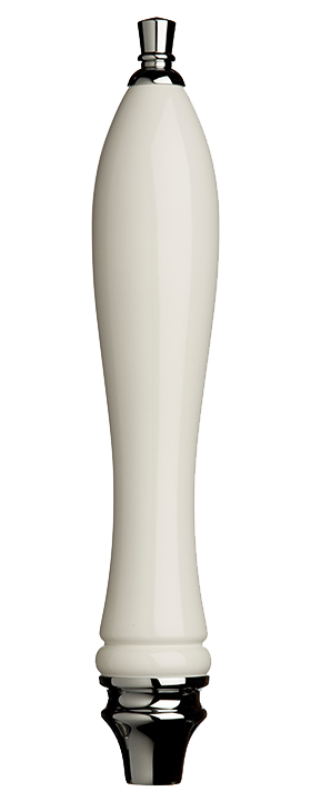 Large White Pub Tap Handle with Silver