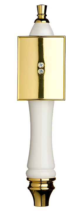 Large White Pub Tap Handle with Gold Rectangle Shield