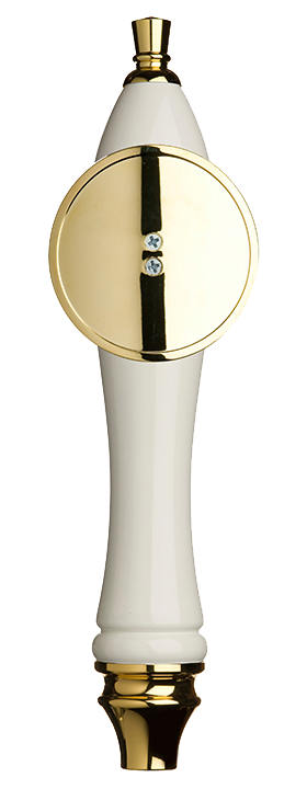Large White Pub Tap Handle with Gold Round Shield