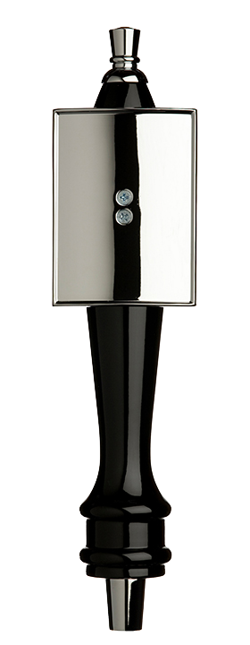Medium Black Pub Tap Handle with Silver Rectangle Shield