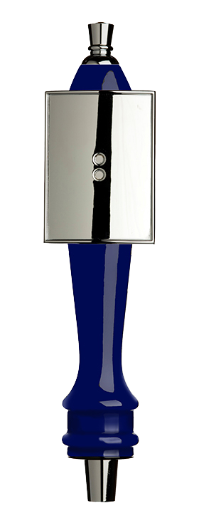 Medium Blue Pub Tap Handle with Silver Rectangle Shield