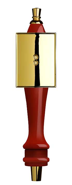 Medium Red Pub Tap Handle with Gold Rectangle Shield