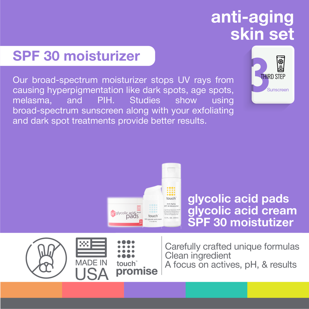 Anti-Aging Bundle - Glycolic Acid Pads, Face Cream, SPF30 Moisturizer