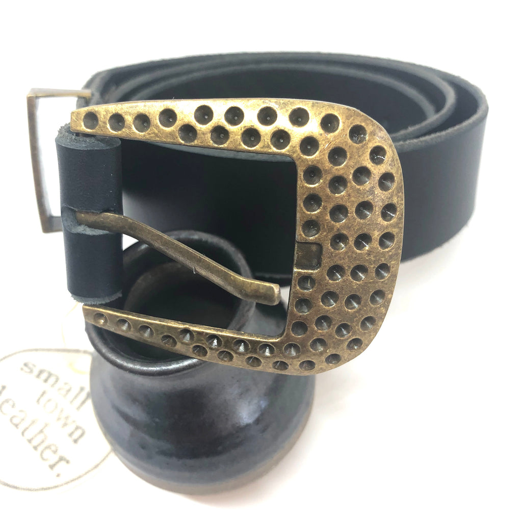 Black Leather with Brass Dotted Buckle