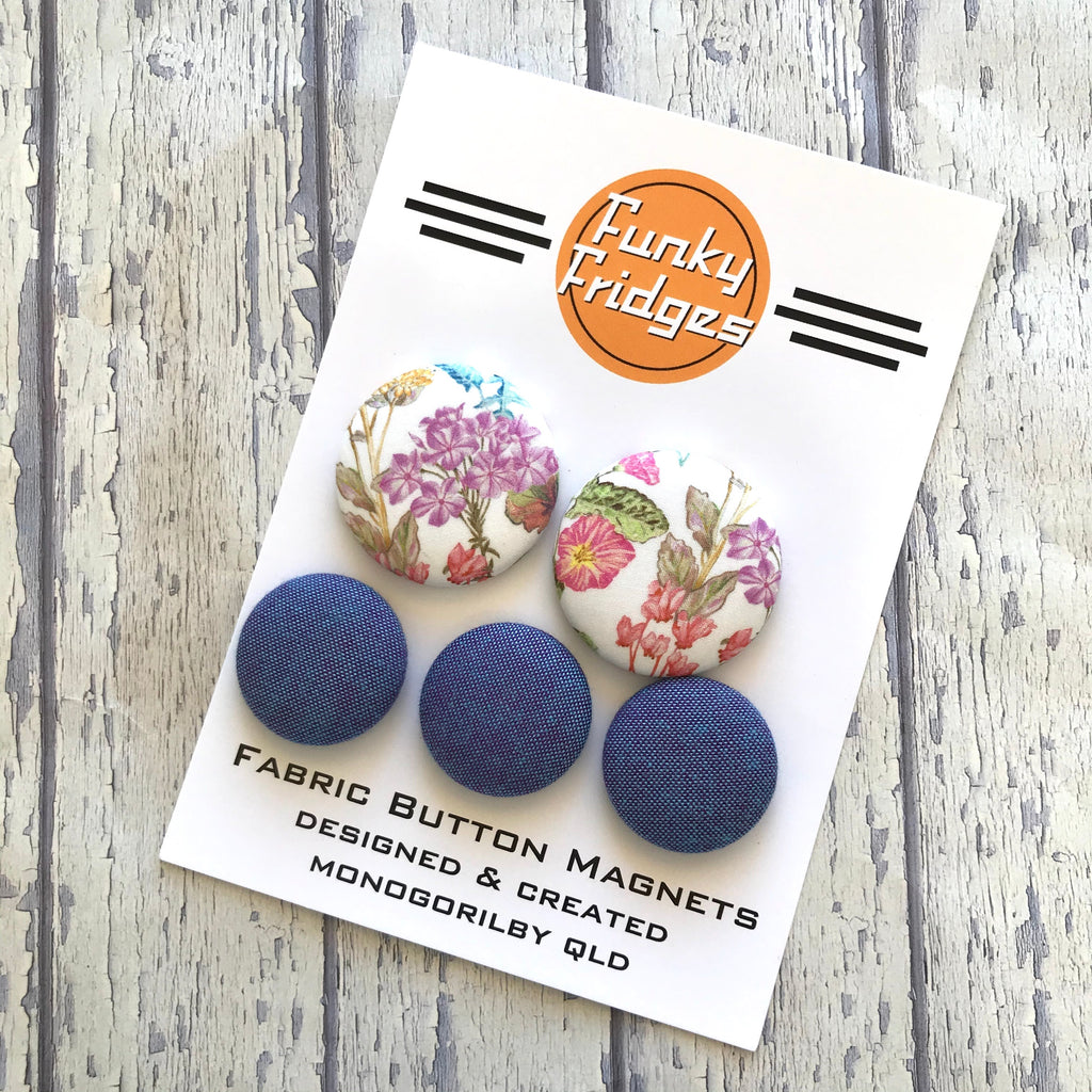Floral Denim Magnet Set