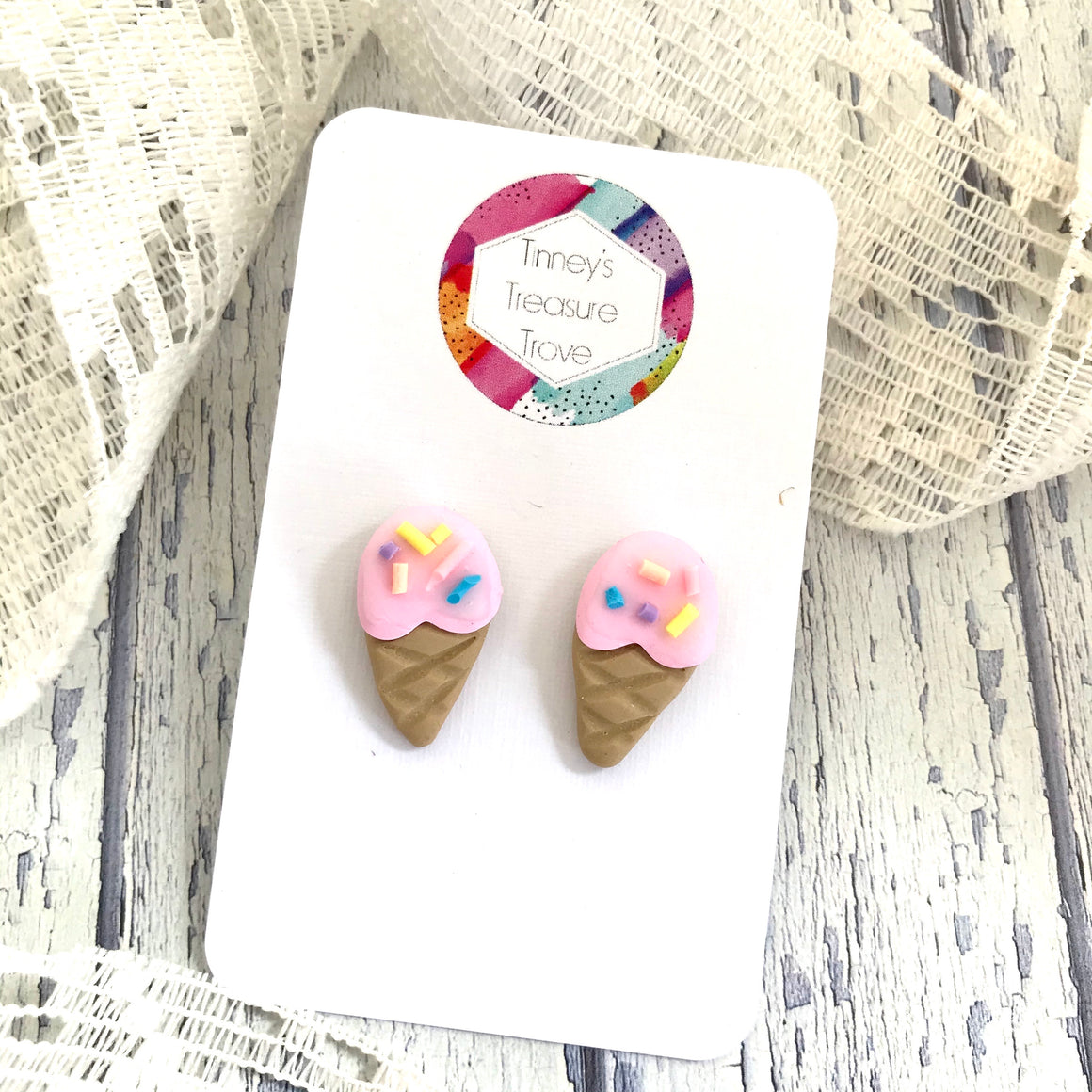 Wattle and Twine - Tinney Treasure Trove Ice cream Cone Earrings