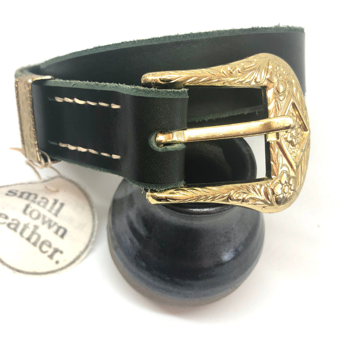 Olive Leather with Gold Posy Buckle