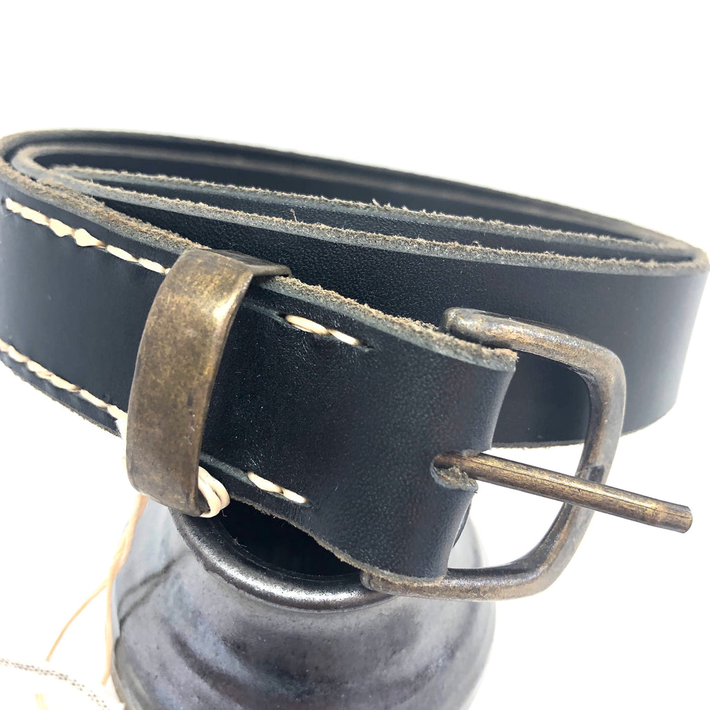 Black Leather with Brass Basics Buckle