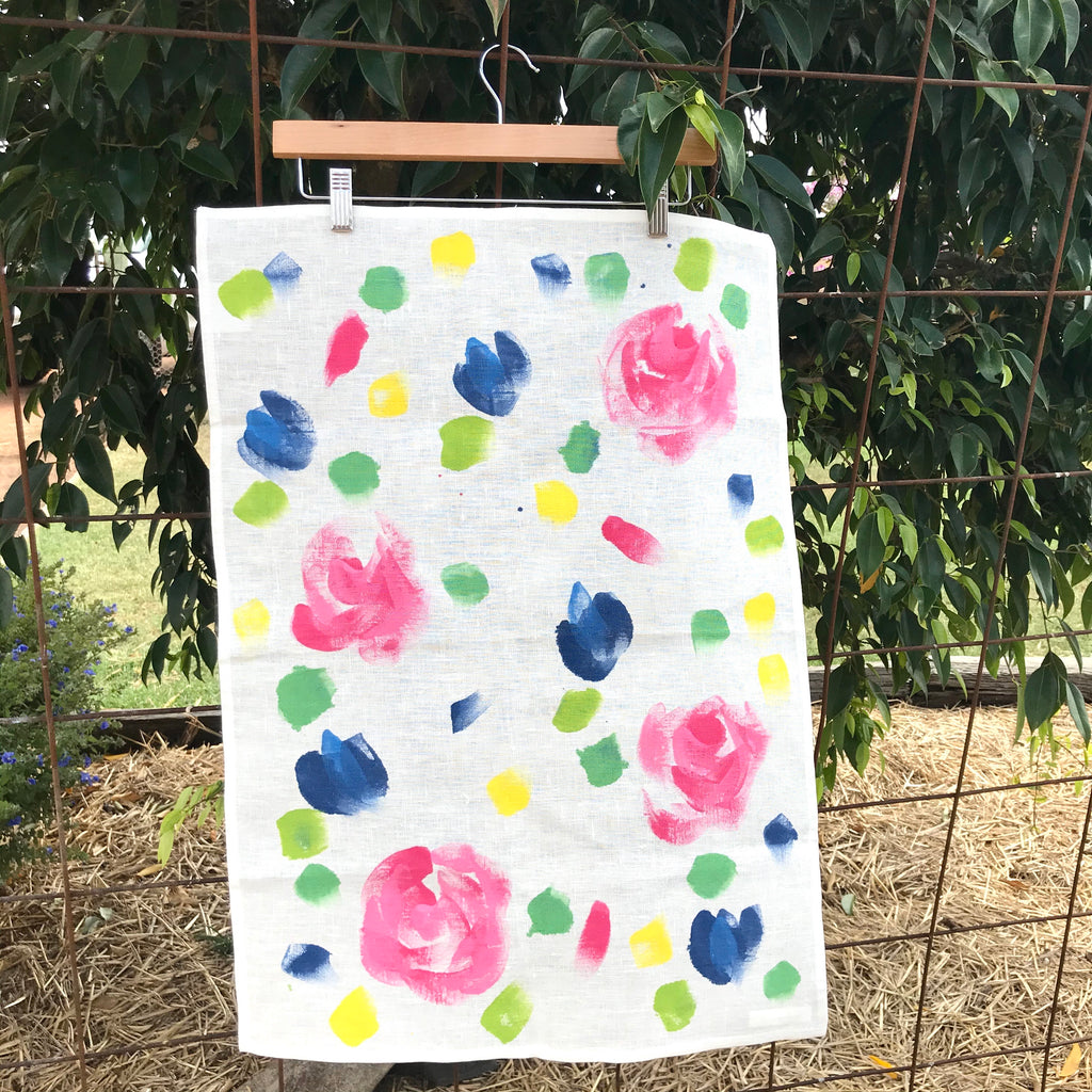 Painted Linen Tea Towel - Cottage Garden