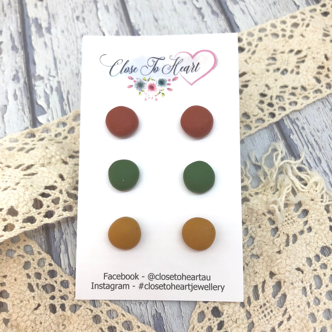 Copper, Olive & Mustard Ball Studs