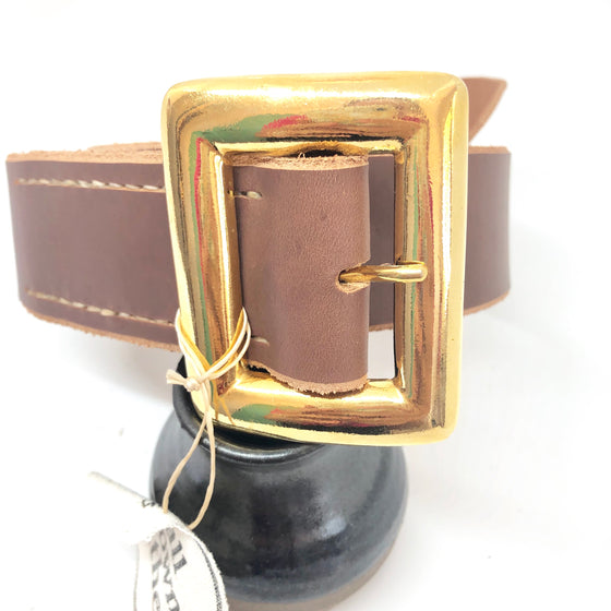 Dark Tan Leather with Gold Gated Buckle