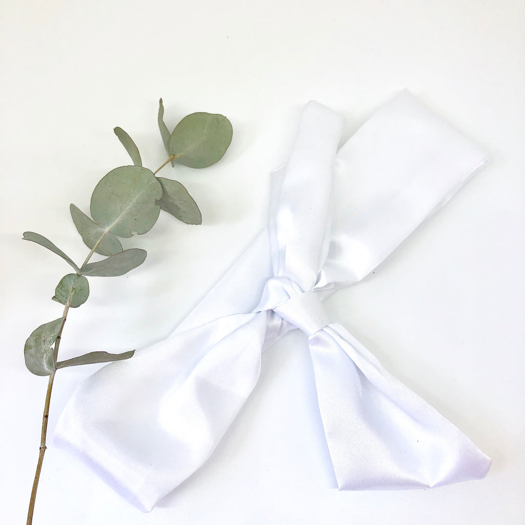 White Satin Straight Scarf