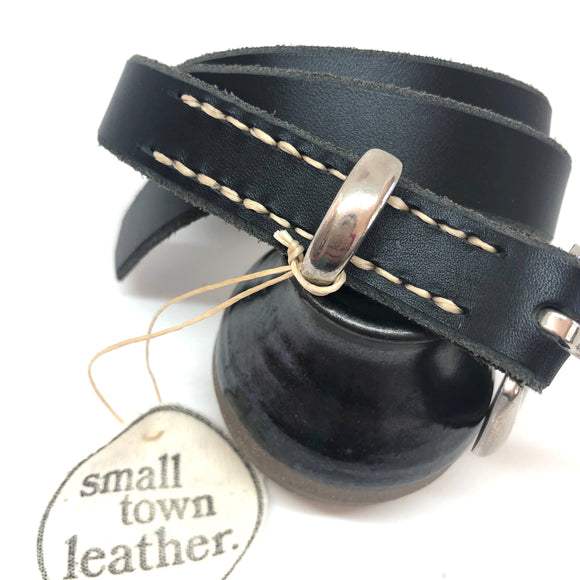 Black Leather with Silver Style Buckle