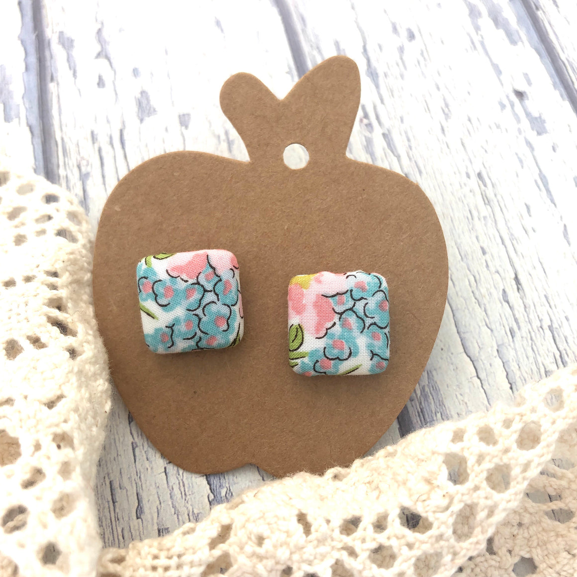 Wattle & Twine - Anna Liberty Fabric Stud Earrings by Lilac Apple