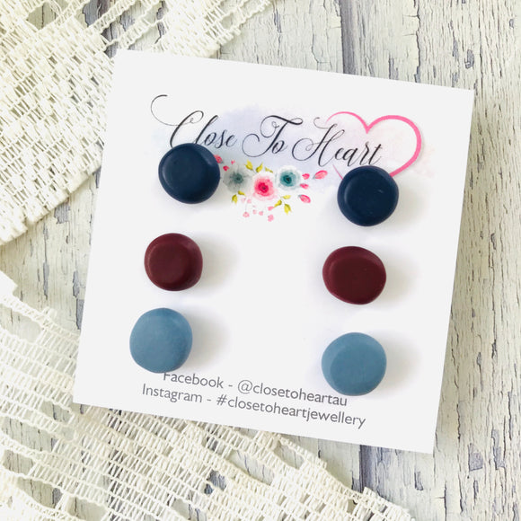 Navy, Bluestone and Burgundy Ball Studs