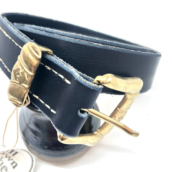Navy Leather with Gold Rustic Buckle