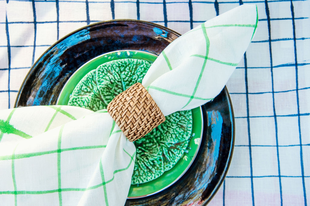 Set of 4 Painted Linen Napkins - Green Grid